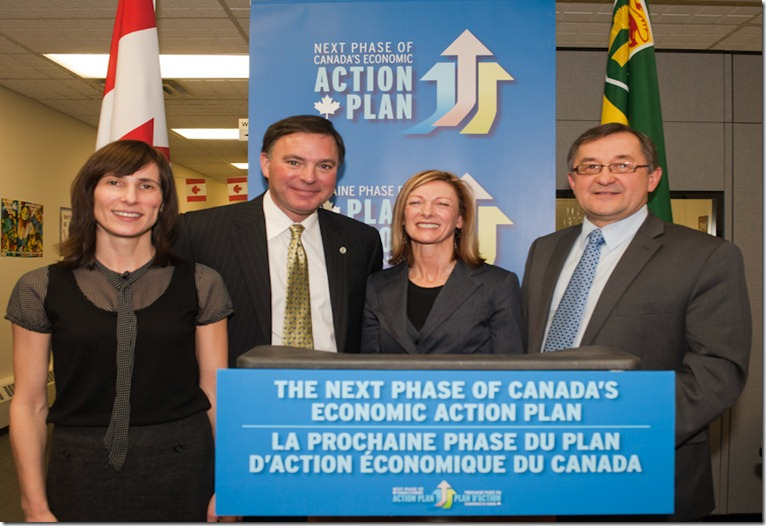 (from left to right): Irene Gannitsos, Master of Ceromnies, Gordon Wyant,  MLA Saskatoon Northwest, Wendy Morris, Immigrant Access Fund Saskatchewan Board Chair, and Ed Komarnicki, Member of Parliament for Souris Moose Mountain, during an announcement to support newcomers to Saskatchewan at the Newcomer Information Centre in Saskatoon, SK, February 22, 2012</p> <p>Photo Liam Richards for Canada News Wire